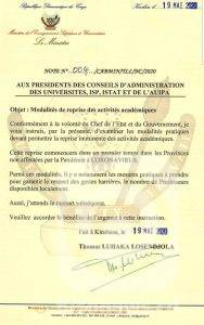RDC: vers la reprise progressive des activités académiques dans les provinces non touchées par le Covid-19 1
