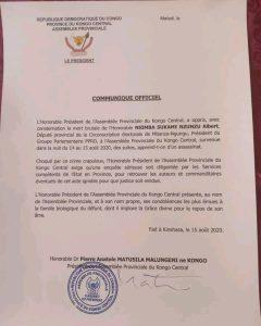 Kongo-Central : le président de l'assemblée provinciale exige des enquêtes sur l'assassinat du député Albert Nsimba 1