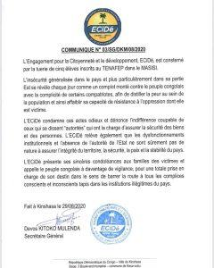 """RDC- tuerie des élèves à Masisi : ECIDE condamne ces actes odieux et dénonce l'indifférence coupable de ceux qui se disent """"autorités"""" qui ont la charge d'assurer la sécurité des biens et des personnes 1"""