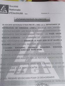 Kinshasa : La SNEL annonce la coupure d'électrique dans plusieurs quartiers le 23 août 1